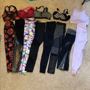8 pairs name brand leggings 5 high end sports bras